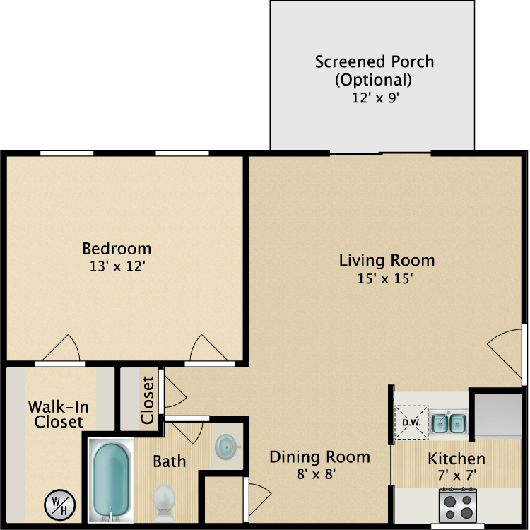 Floor plan image of 1 Bedroom Downstairs