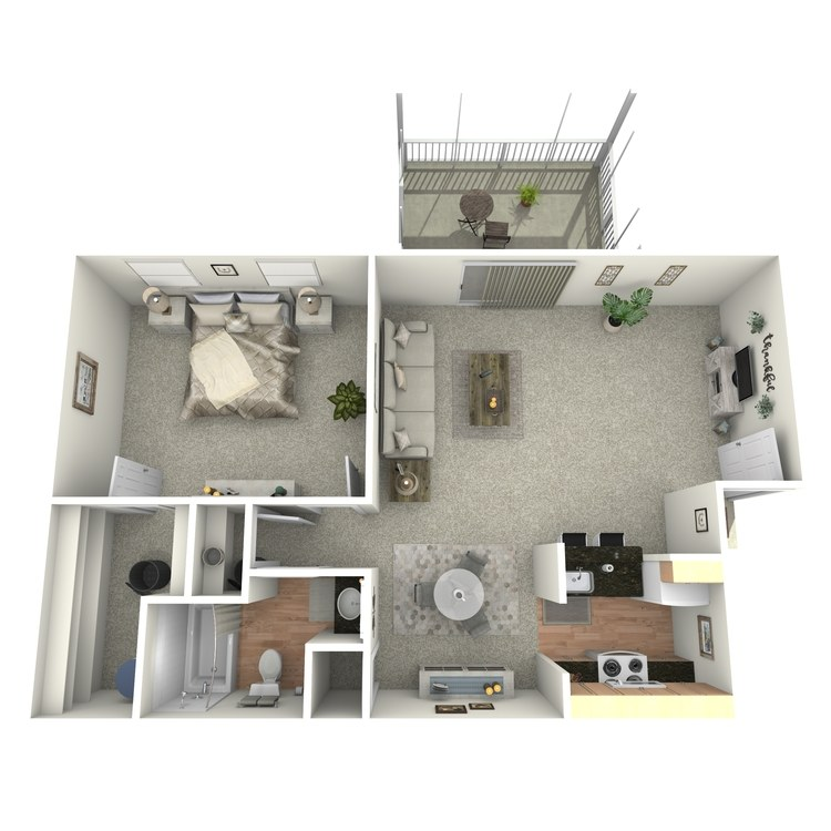 Floor plan image of 1 BR Upstairs