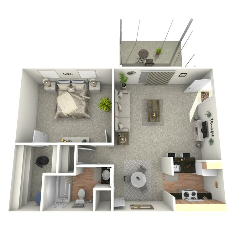 Floor plan image of 1 BR Downstairs