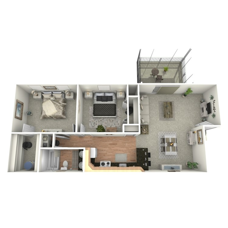 Floor plan image of 2 BR Upstairs