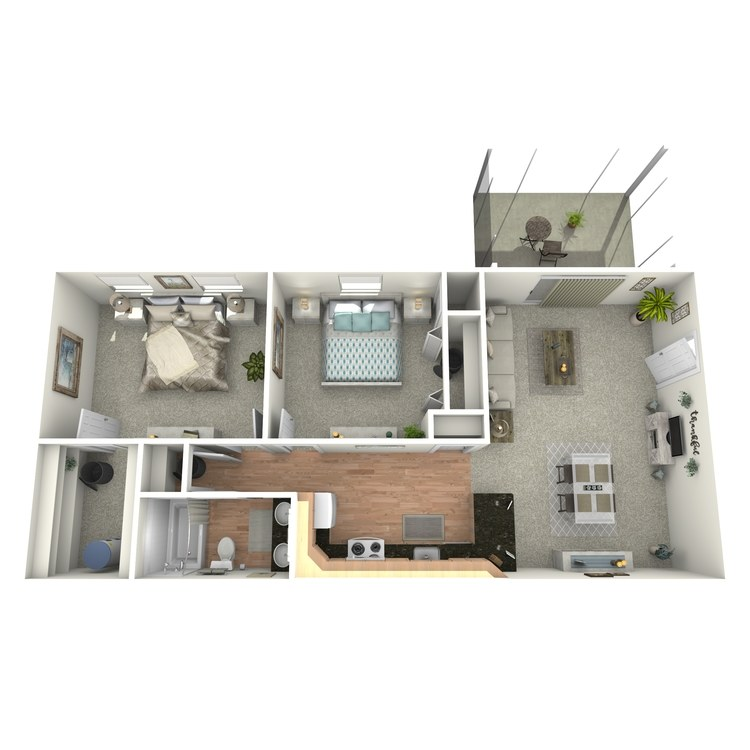 Floor plan image of 2 BR Downstairs