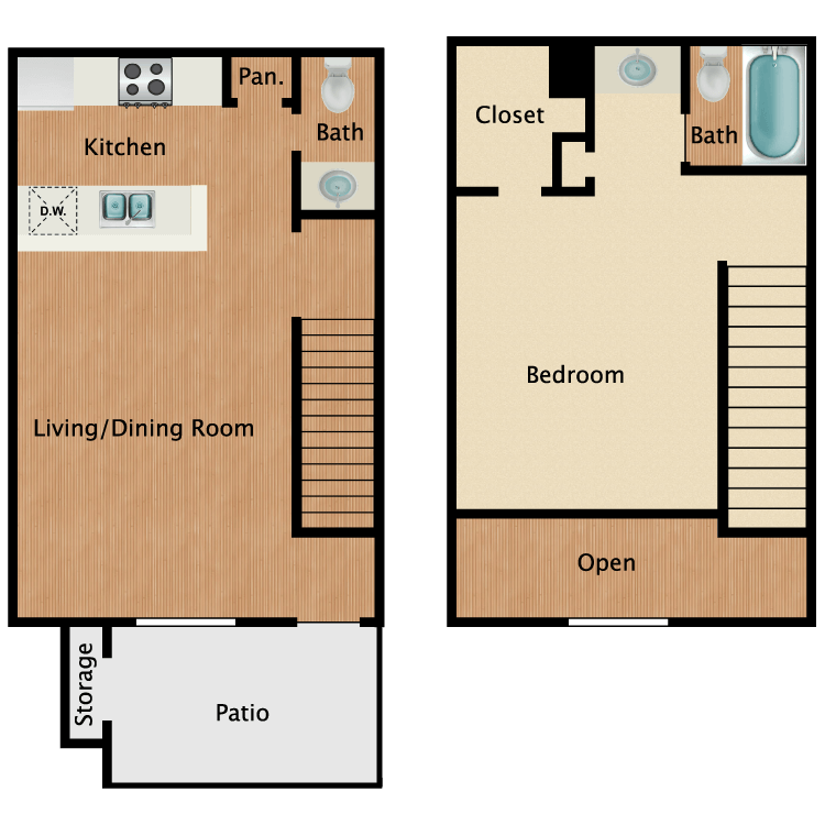 Floor plan image of 1 Bed Townhome