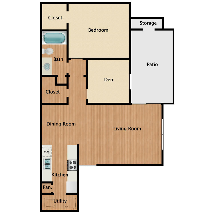 Floor plan image of 1 Bed with Den