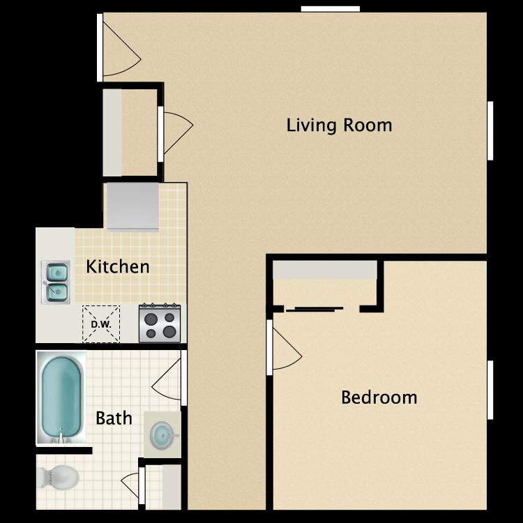 Floor plan image of 1 Bed 1 Bath A