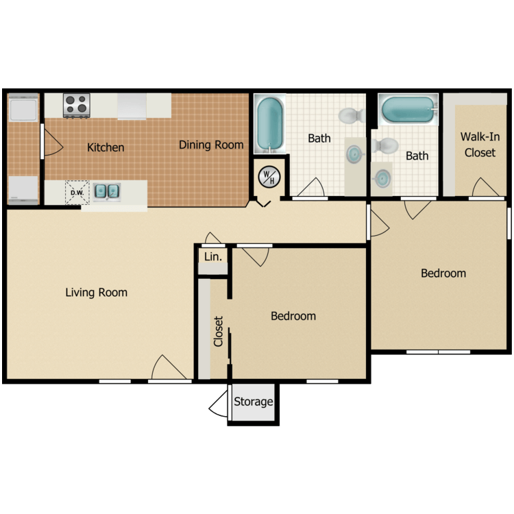 Floor plan image of Two Bedroom Two Bath