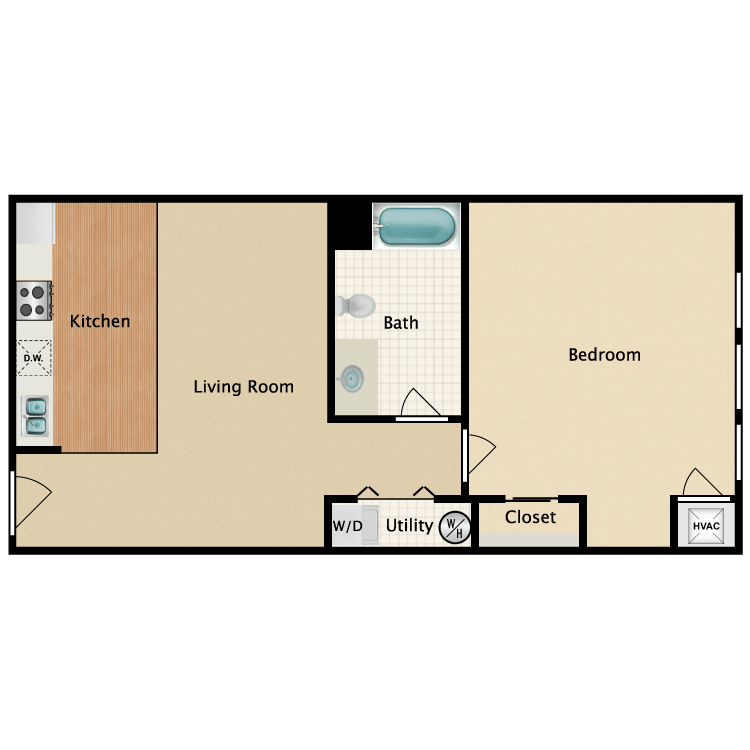 Floor plan image of Darby One Bedroom