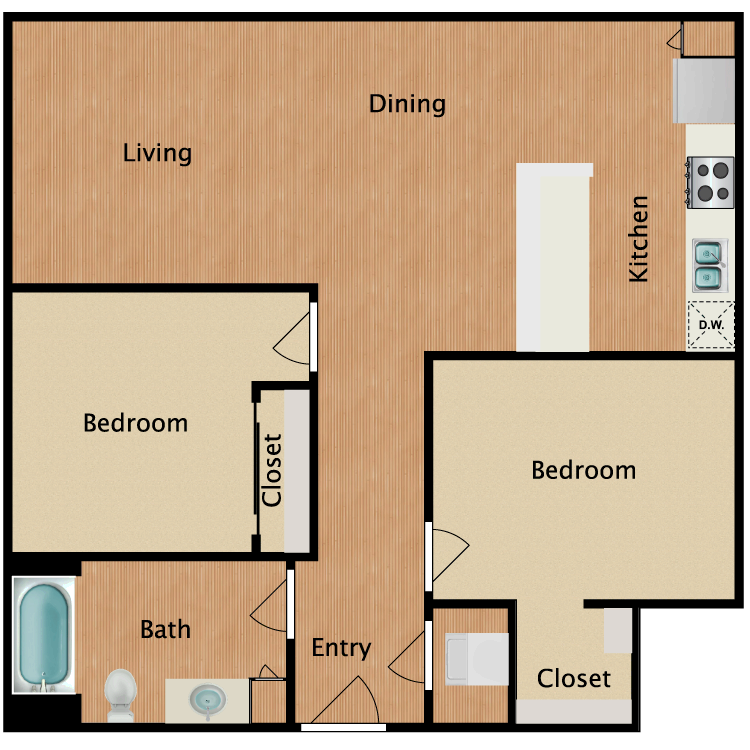 Floor plan image of 2 Bed 1 Bath T1