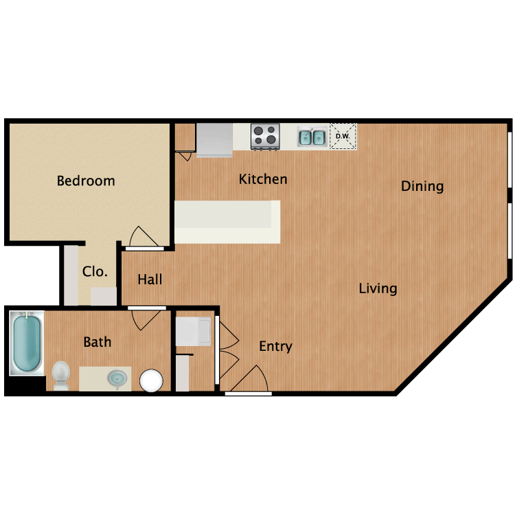 Floor plan image of 1 Bed 1 Bath T10