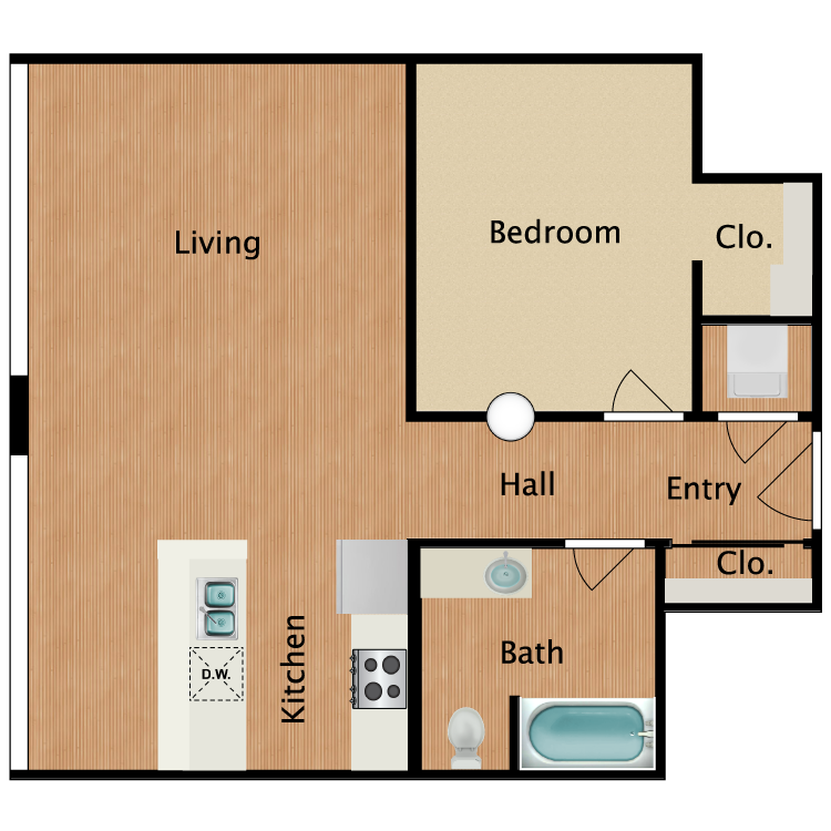 Floor plan image of 1 Bed 1 Bath T11