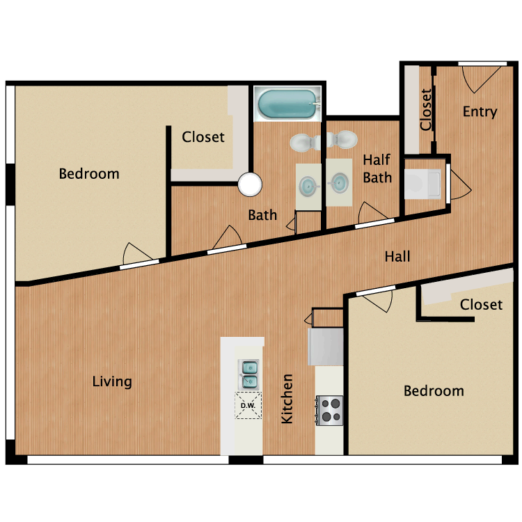 Floor plan image of 2 Bed 1.5 Bath T12