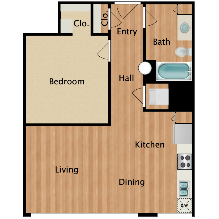 Floor plan image of 1 Bed 1 Bath T13