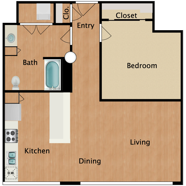 Floor plan image of 1 Bed 1 Bath T14