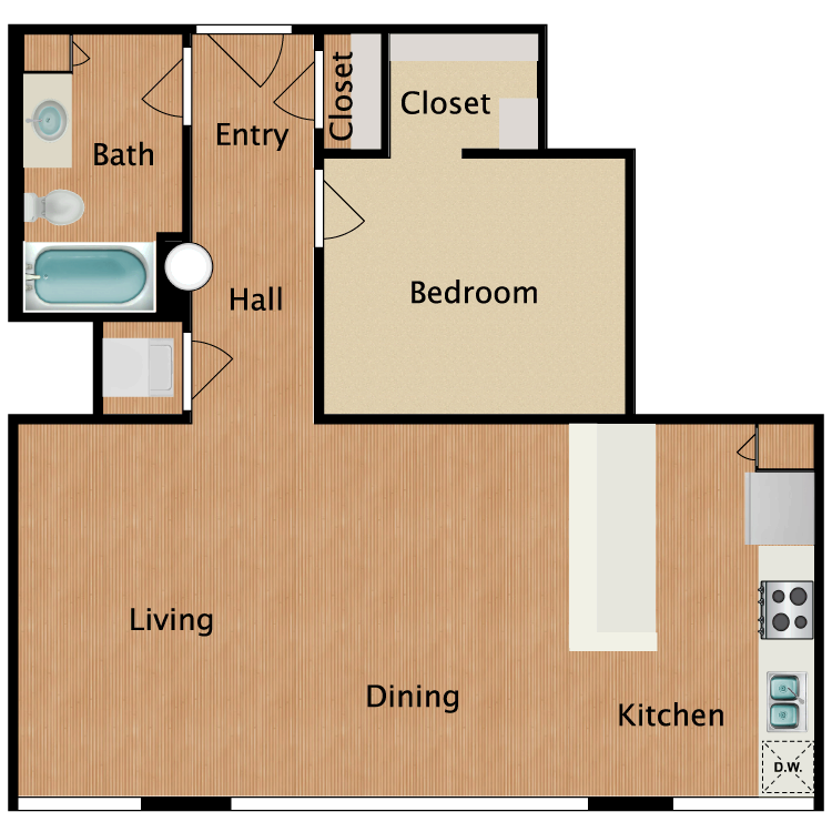 Floor plan image of 1 Bed 1 Bath T15