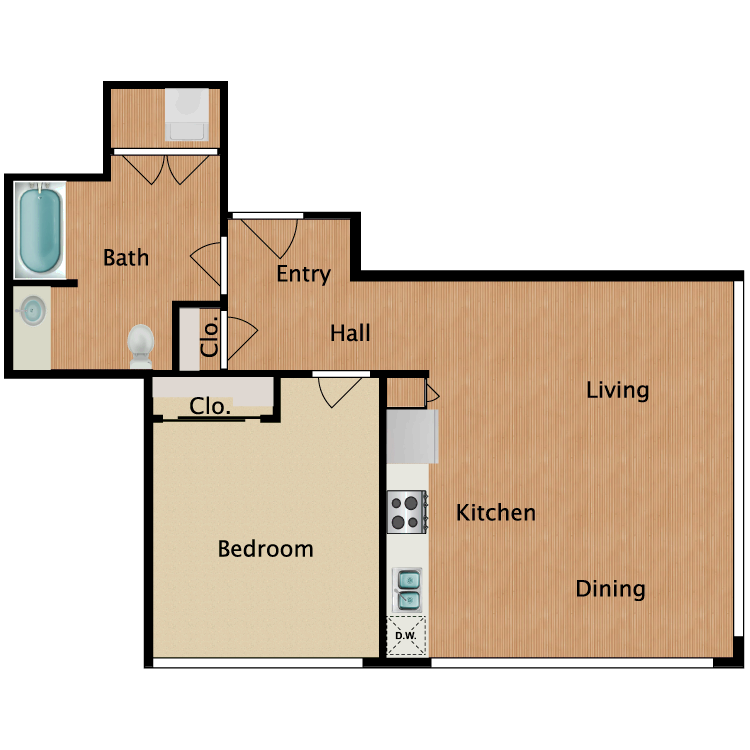 Floor plan image of 1 Bed 1 Bath T16