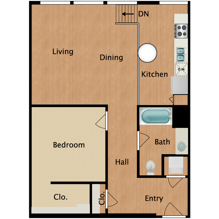 Floor plan image of 1 Bed 1 Bath T17