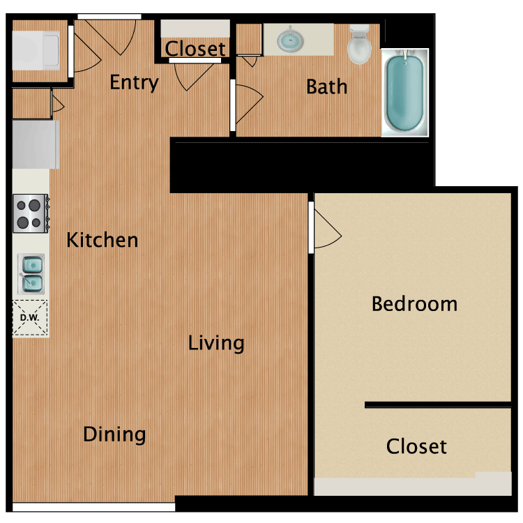 Floor plan image of 1 Bed 1 Bath T18