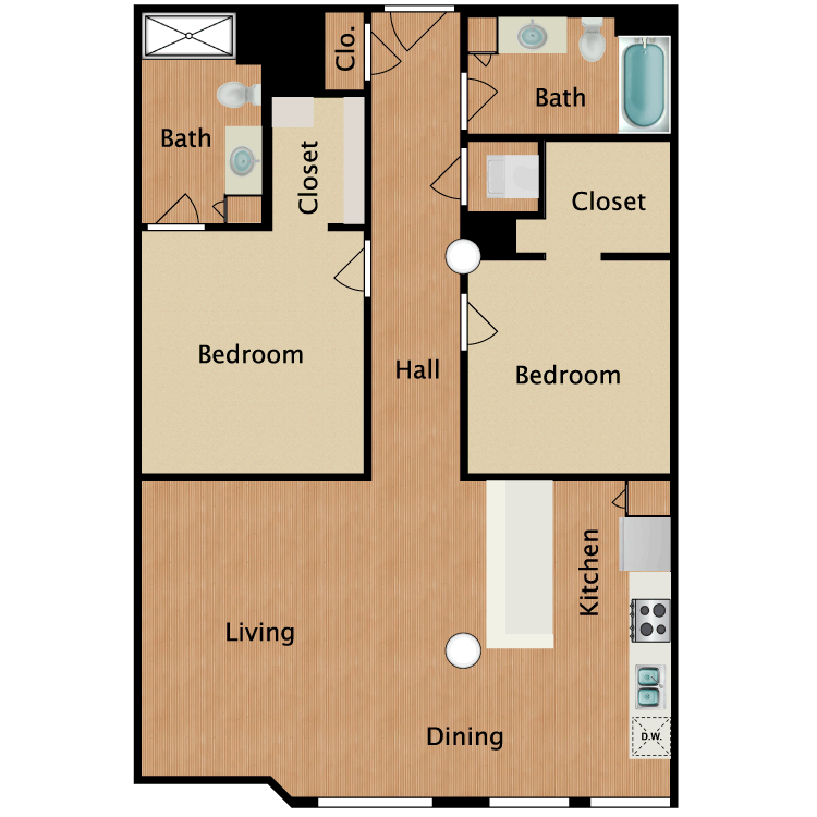 Floor plan image of 2 Bed 2 Bath T2