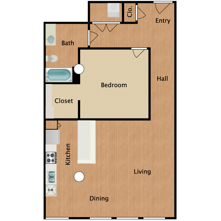 Floor plan image of 1 Bed 1 Bath T3