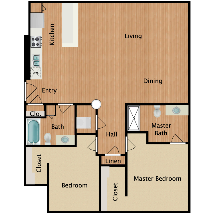 Floor plan image of 2 Bed 2 Bath T4