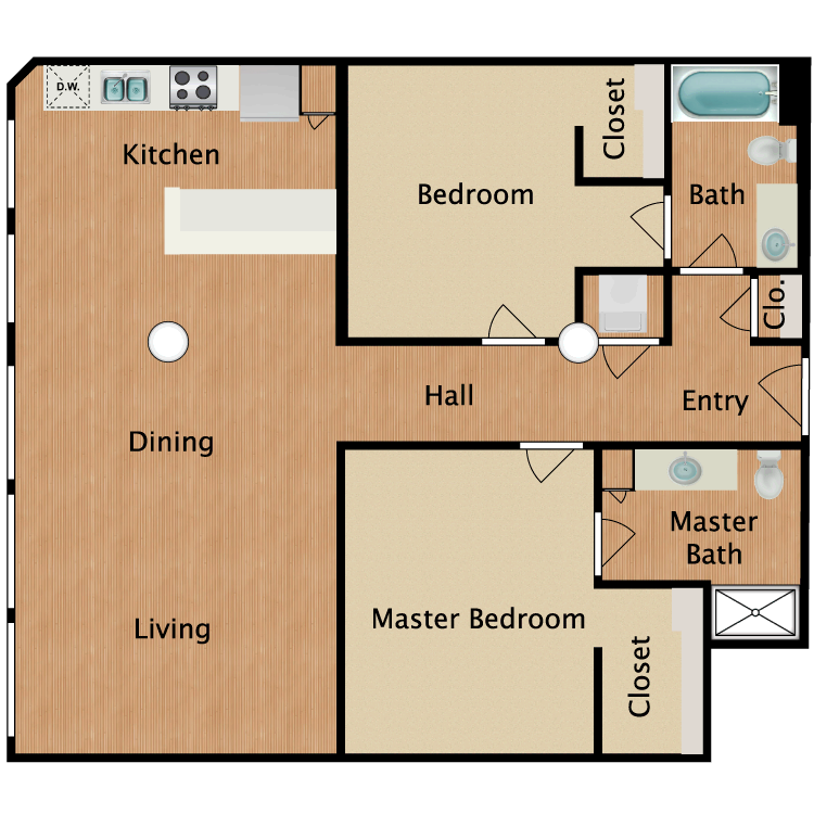 Floor plan image of 2 Bed 2 Bath T5