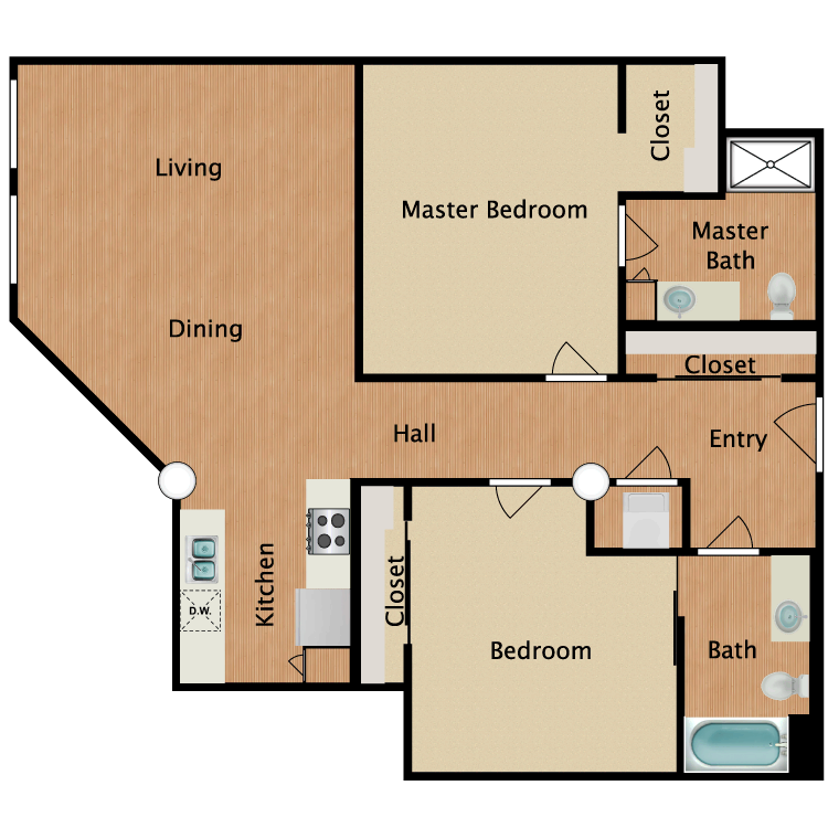 Floor plan image of 2 Bed 2 Bath T6