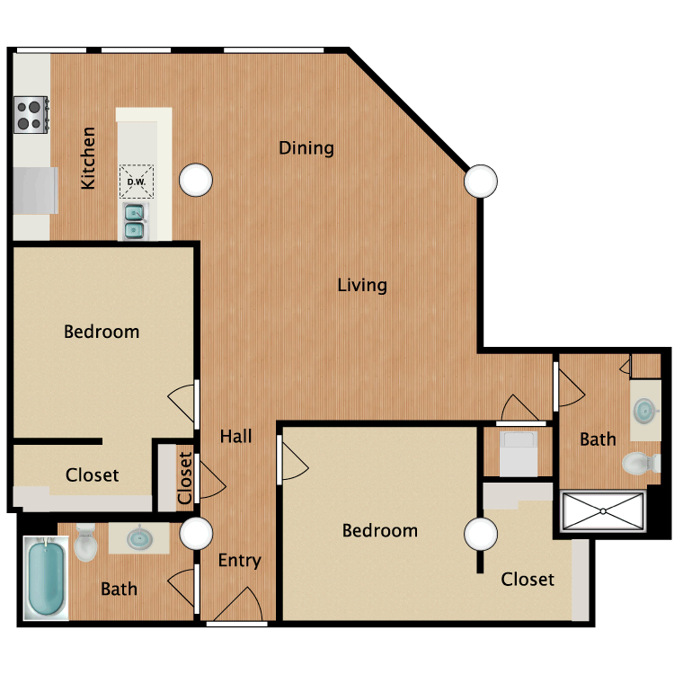 Floor plan image of 2 Bed 2 Bath T7