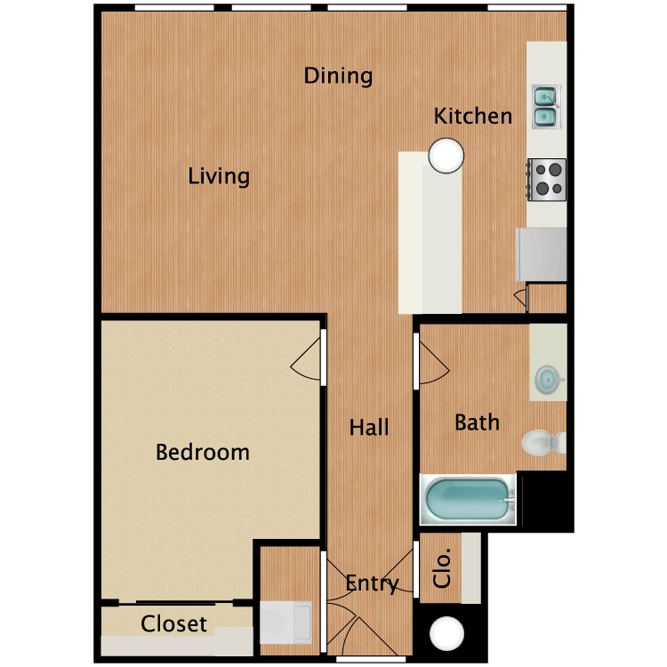 Floor plan image of 1 Bed 1 Bath T8