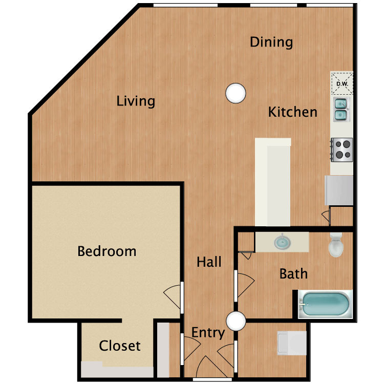 Floor plan image of 1 Bed 1 Bath T9