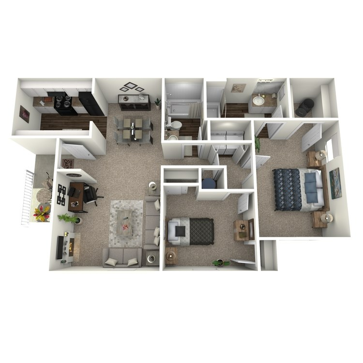 Floor plan image of 2 Bed 2 Bath Large