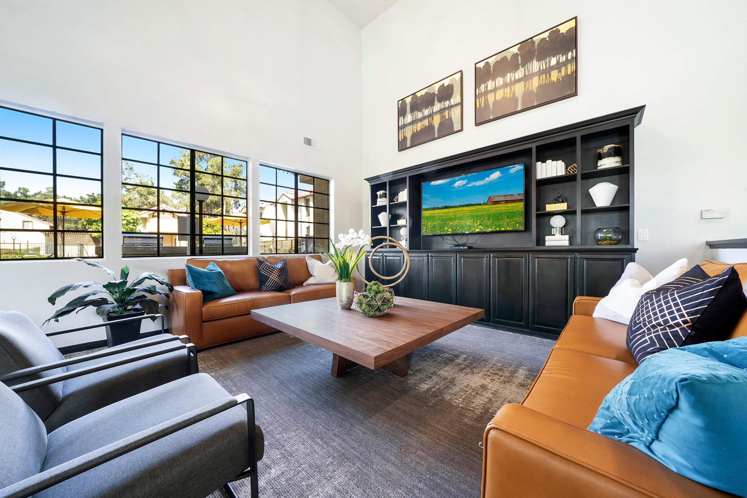 Villa La Paz Apartment Homes community room with couches and a TV