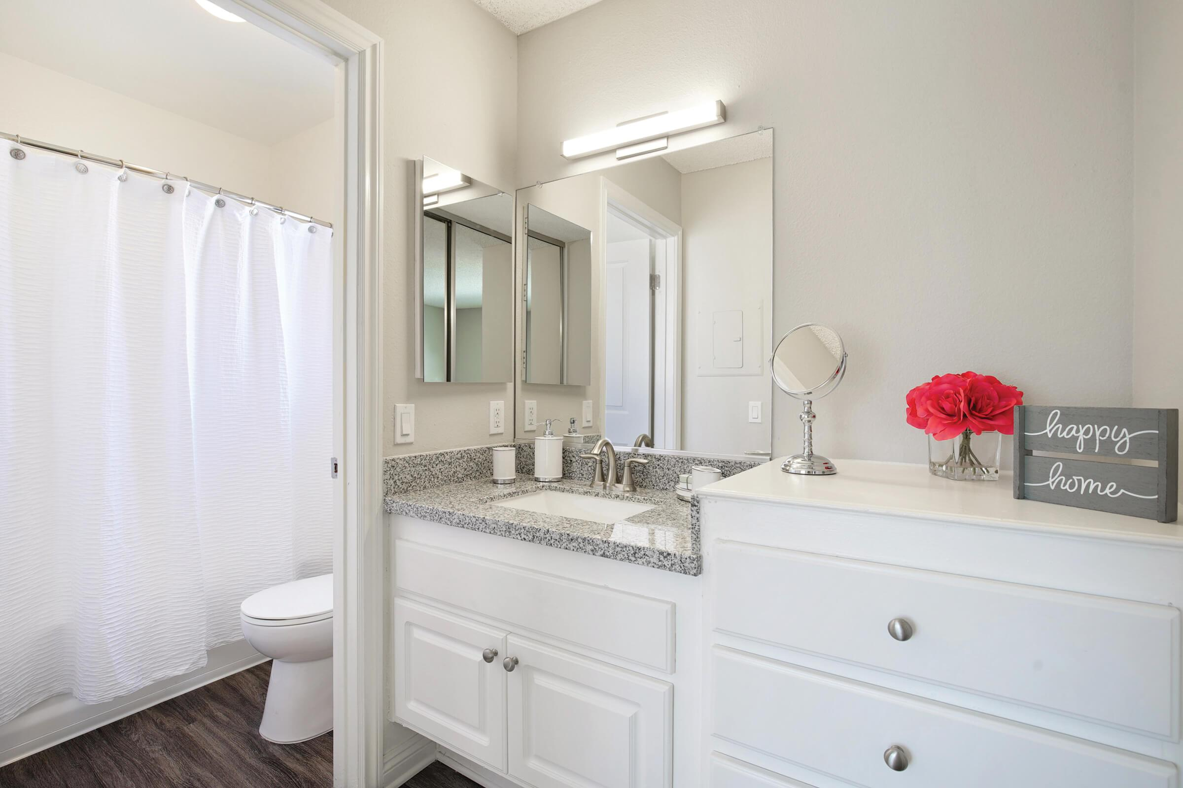 Bathroom with white shower curtain