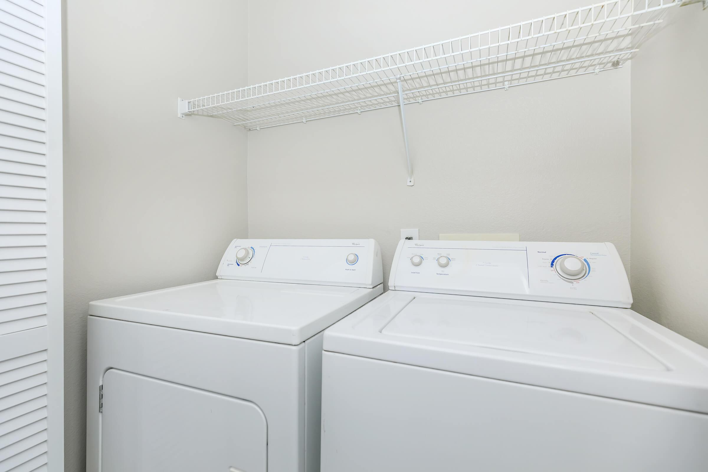 Vacant washer and dryer in laundry closet