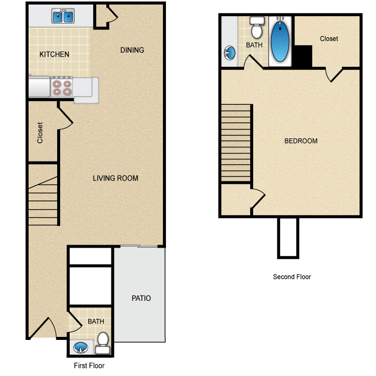 Floor plan image of 1 Bed 1.5 Bath