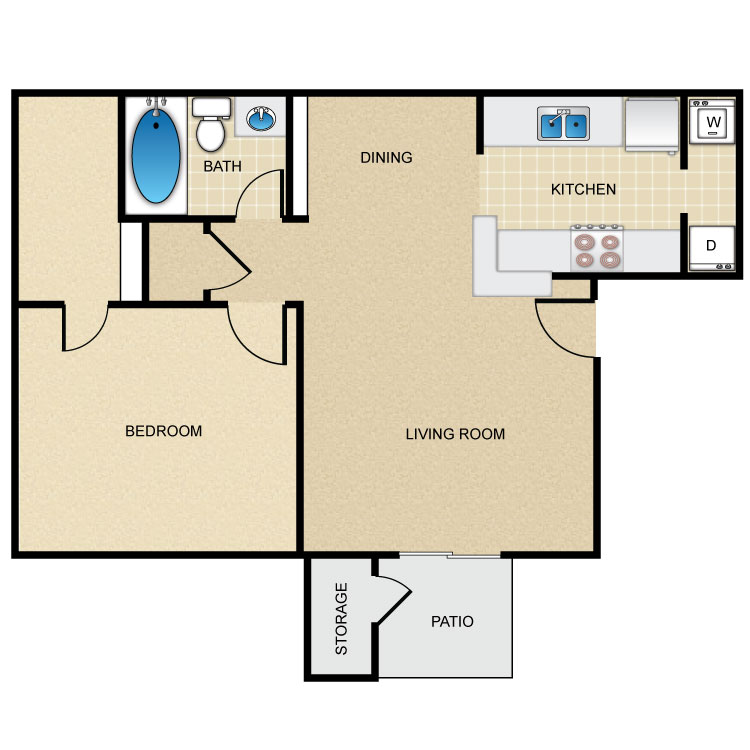 Floor plan image of 1 Bed 1 Bath L