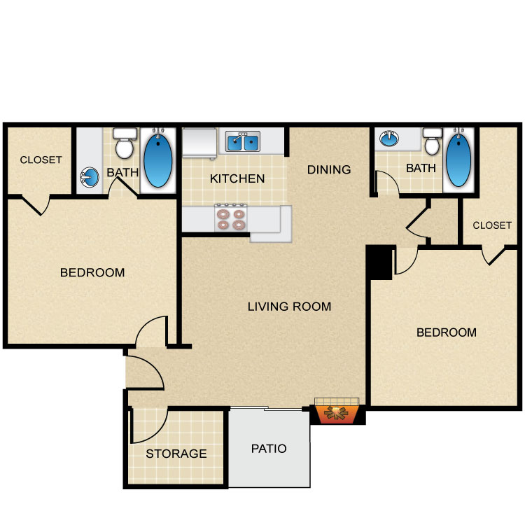 Floor plan image of 2 Bed 2 Bath L