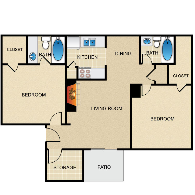 Floor plan image of 2 Bed 2 Bath S
