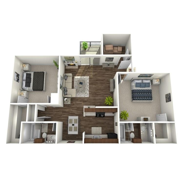 Floor plan image of 2 Bed 2 Bath L
