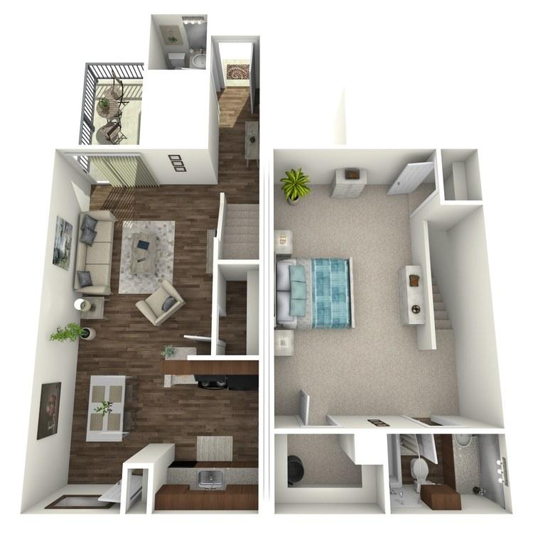 Floor plan image of 1 Bed 1.5 Bath