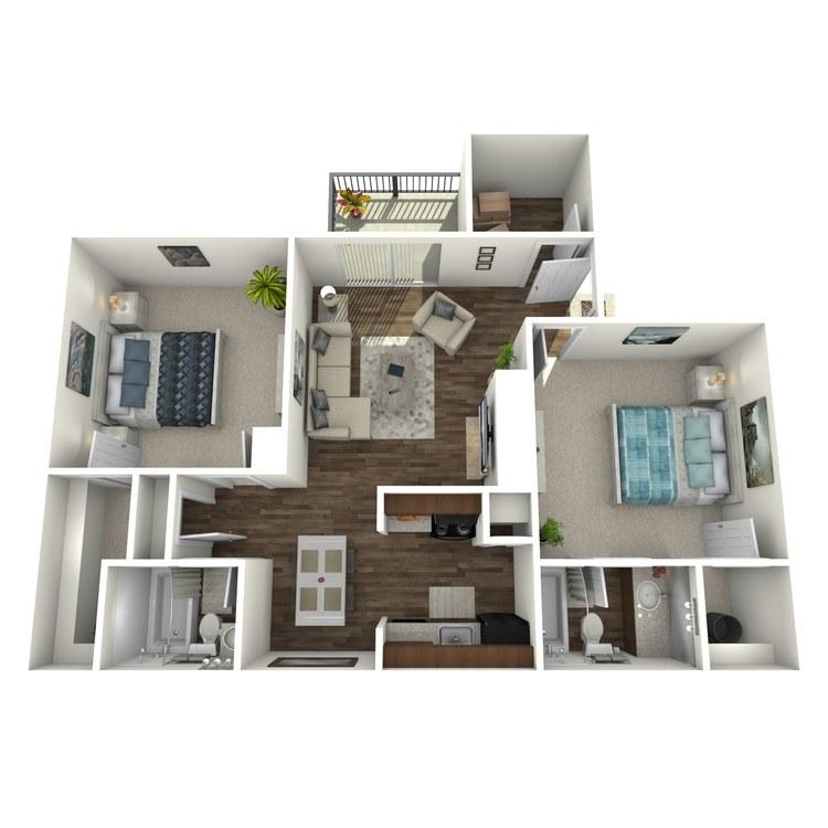 Floor plan image of 2 Bed 2 Bath S