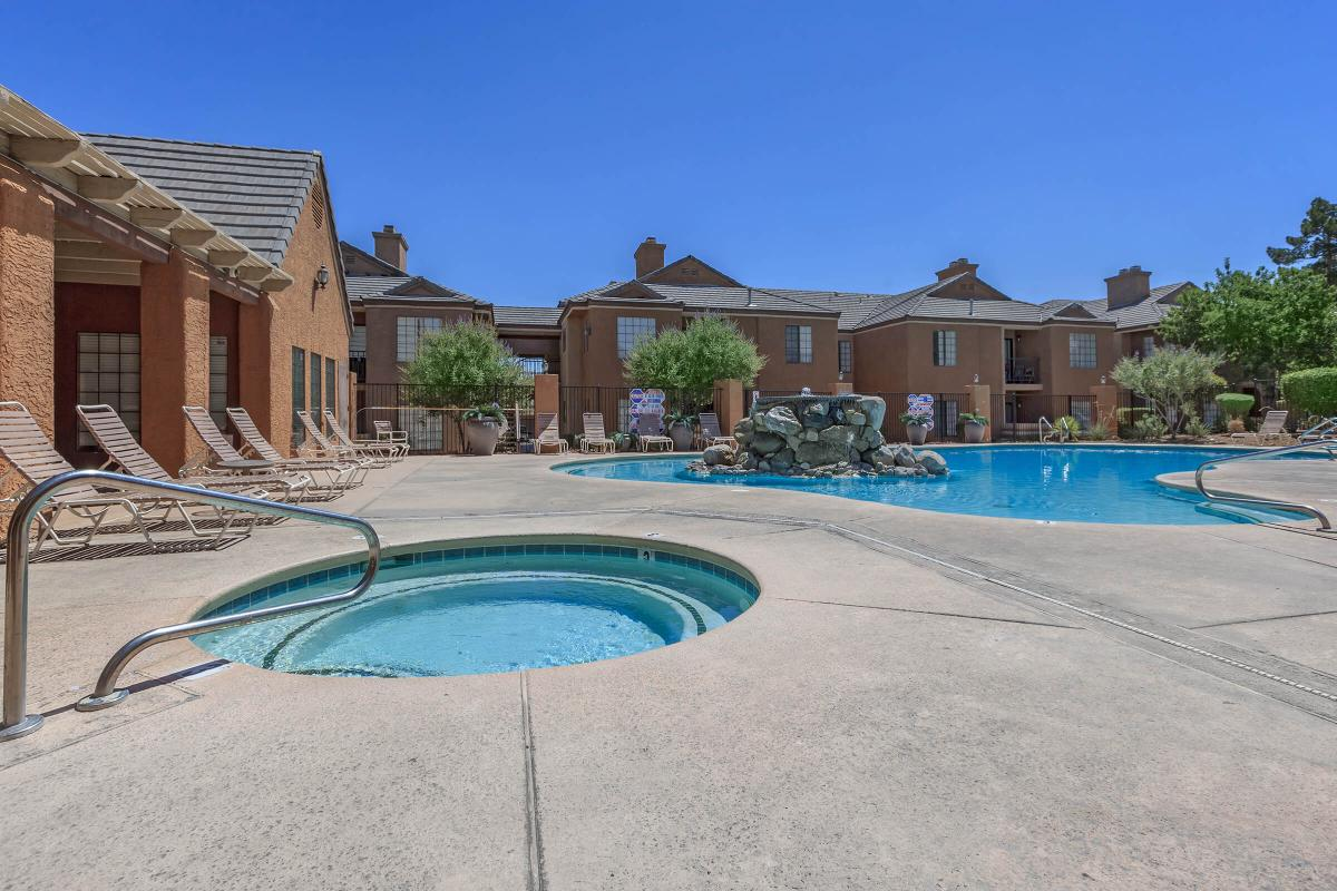 ENJOY OUR POOL AND SPA AT CANYON CREEK VILLA IN LAS VEGAS, NEVADA