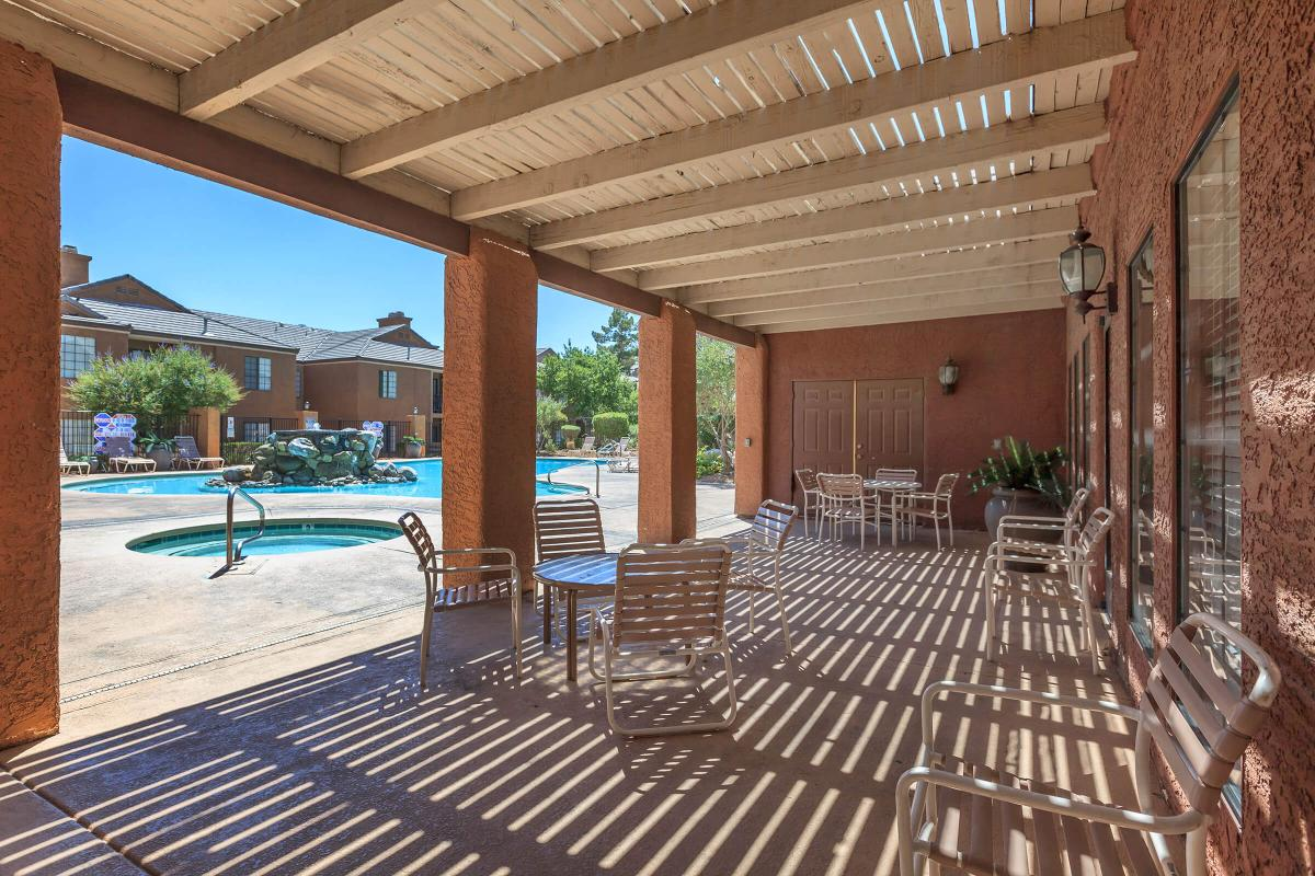 RELAX OUTSIDE OUR CLUBHOUSE AT CANYON CREEK VILLAS IN LAS VEGAS, NEVADA