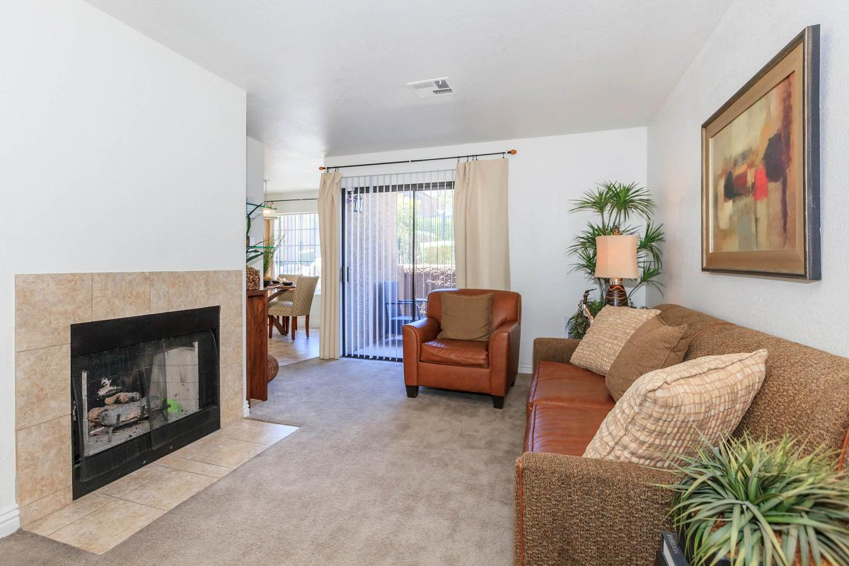 A FIREPLACE IN YOUR NEW LIVING ROOM AT CANYON CREEK VILLAS IN LAS VEGAS, NEVADA