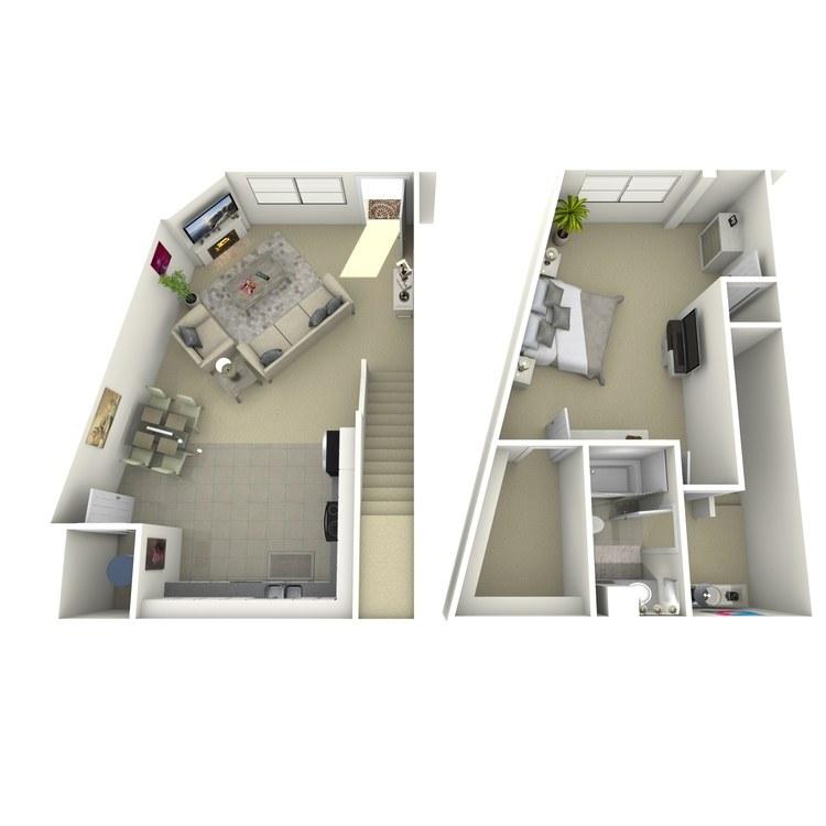 Floor plan image of 1 Bed 1 Bath H