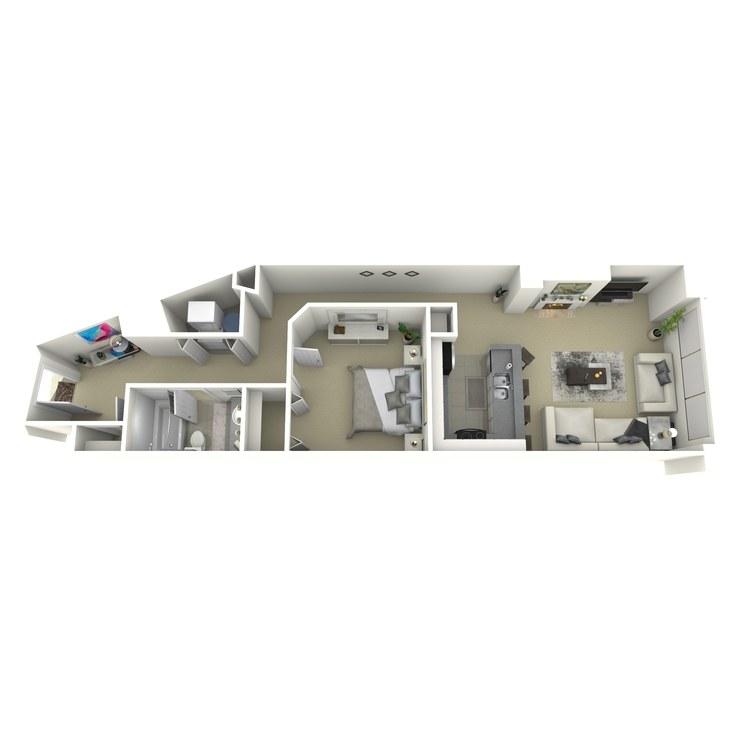 Floor plan image of 1 Bed 1 Bath G