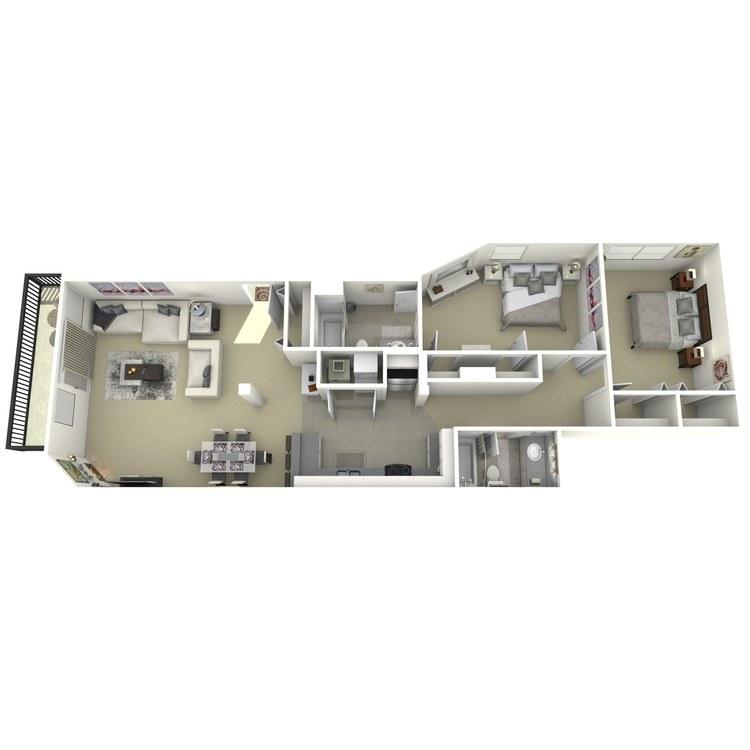 Floor plan image of 2 Bed 2 Bath J