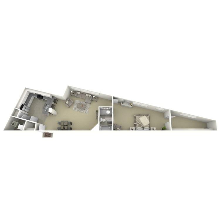 Floor plan image of 1 Bed 1 Bath E