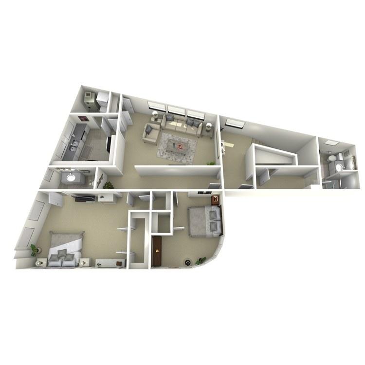 Floor plan image of 2 Bed 2 Bath R