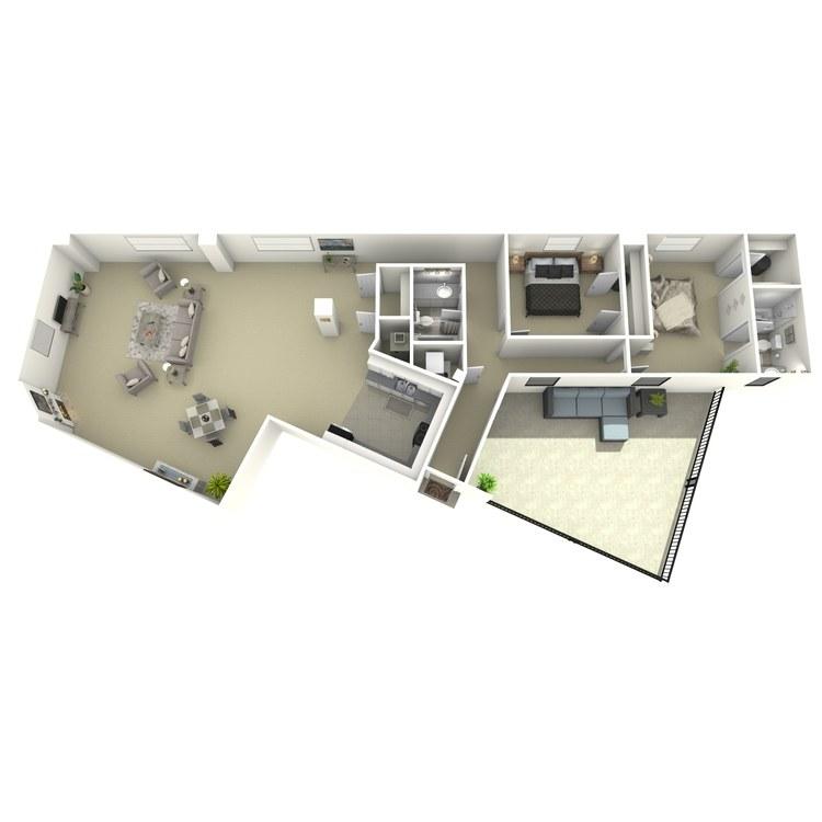 Floor plan image of 2 Bed 2 Bath U