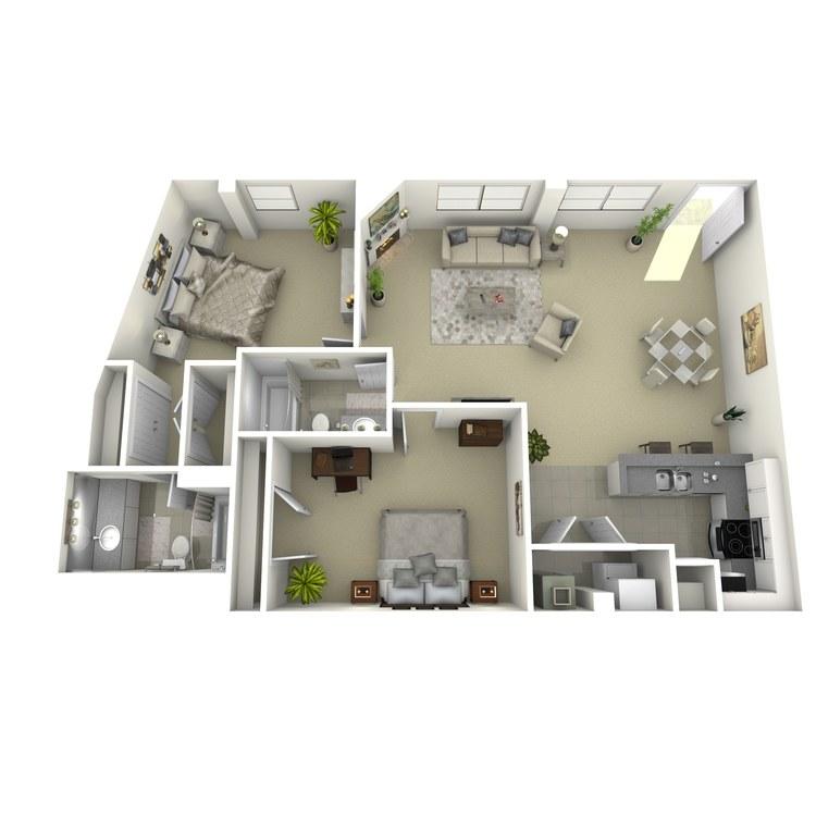 Floor plan image of 2 Bed 2 Bath K