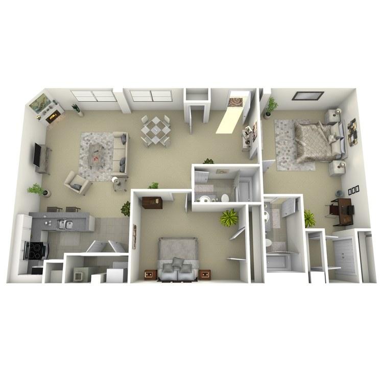 Floor plan image of 2 Bed 2 Bath Q